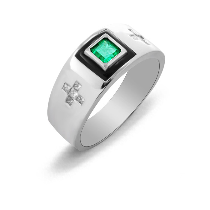 Offre spéciale haut à la mode Qi Xuan_Trendy joaille_boutique vert homme Rings_S925 argent rings_fabricant directement ventes