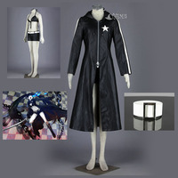 Athemis VOCALOID Hatsune Miku Leather Coat BLACK ROCK SHOOTER Cosplay Costume Sexy Bikini Suits Attractive Long Coat Outfit