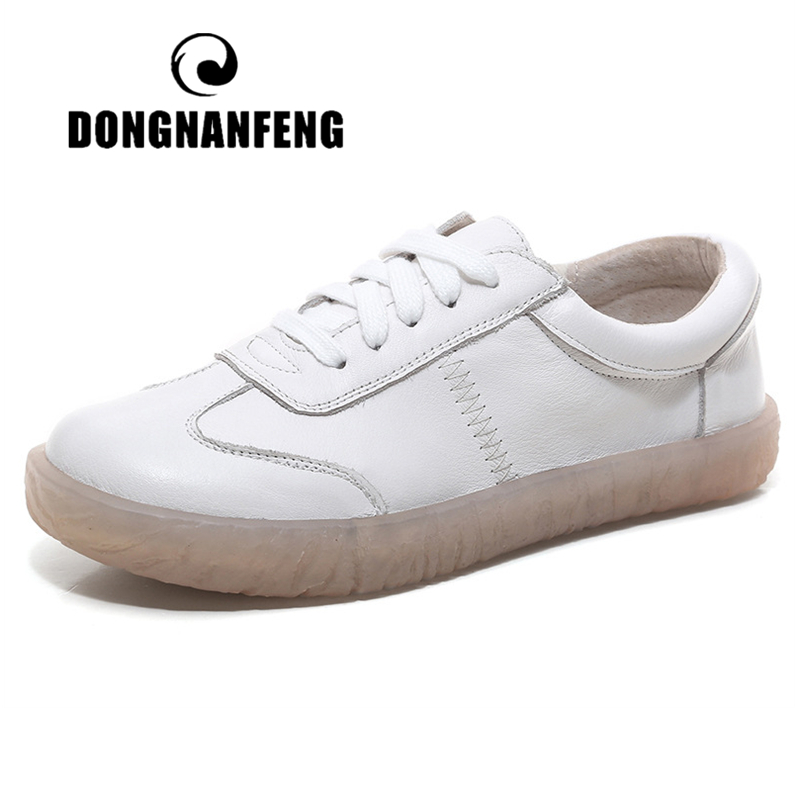 DONGNANFENG Gril Women's Ladies Female Woman Genuine Leather White Vulcanized Shoes Flats Sneakers Platform Lace Up ASN-1901