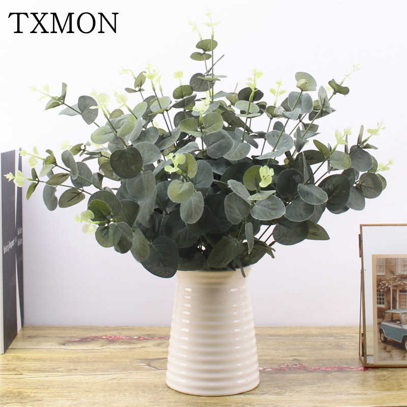 Green Artificial Leaves Large Eucalyptus Leaf Plants Wall Material Decorative Fake Plants For Home Shop Garden Party Decor 37cm