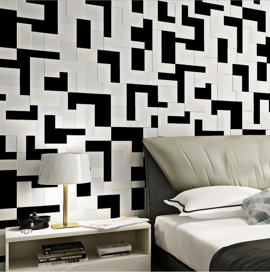 New modern brief mosaic non-woven three-dimensional 3d plaid wallpaper bedroom wall wallpaper three dimensional analysis of non planar coupled shear walls
