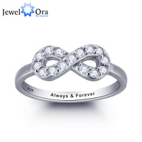 Personalized Infinite Love Promise Ring Simple Style 925 Sterling Silver Jewelry Free Gift Box Silveren SI1786
