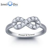Gepersonaliseerde Infinity Liefde Belofte Ring Eenvoudige Stijl 925 Sterling Zilveren Sieraden Gratis Geschenkdoos (Silveren SI1786)