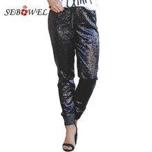 SEBOWEL Sexy Sparkle Black Sequin Pencil Pants Women Casual Drawstring Stretch High Waist Long Clubwear Maxi Trousers