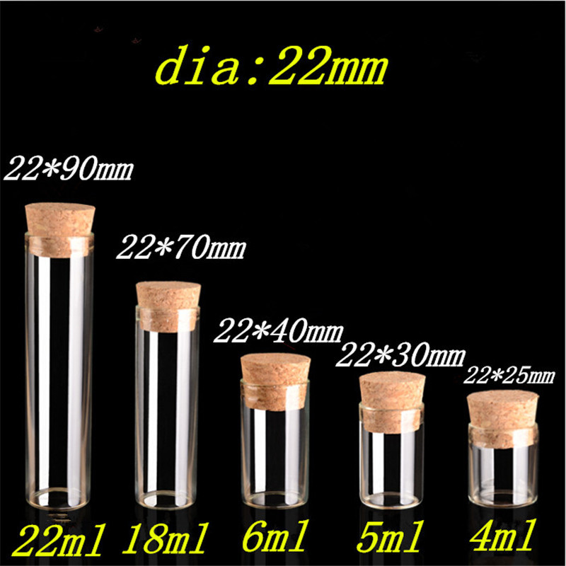 Mini Glass Jars With Corks 4ml 5ml 6ml 18ml 22ml 30ml Bottles Jars Containers For Sand Liquid Jewelry Packaging 100pcs