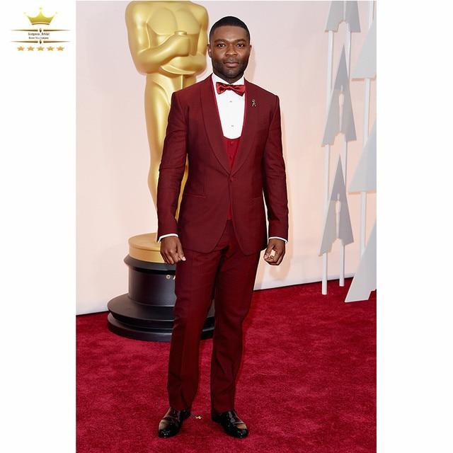 Novios Para Hombre de Esmoquin Trajes de Boda Por Encargo Con Pantalones  Rojos Traje de los 6dec081327b2