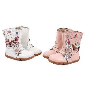 Image 3 - Кожаные ботинки для маленьких девочек на осень и зиму, плюшевые детские ботинки до середины икры, модные римские ботинки, водонепроницаемые резиновые ботинки для детей ясельного возраста