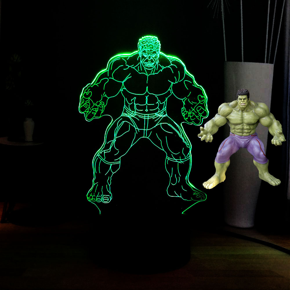 Marvel Movie Series 3D Super Hero Hulk Acrylic 7 Color Change USB Remote LED Night RGB Lamp Kids Holiday Toys Gift Drop Shipping