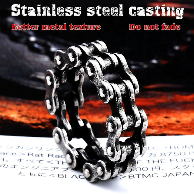 BEIER Stainless Steel Steel Link Motorcycle Chain Boy Rings Punk Rock Mens Biker