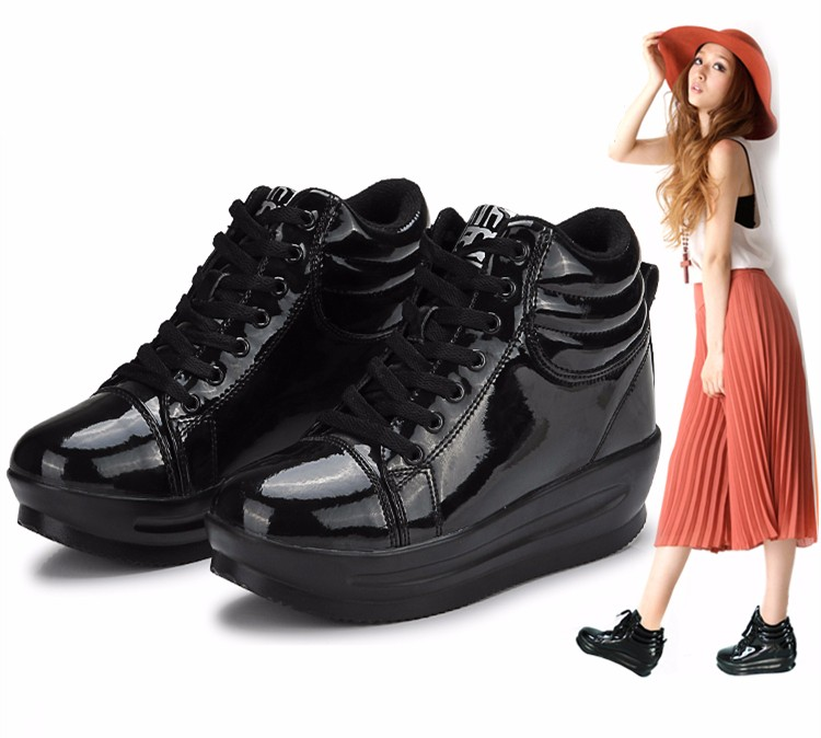 KUYUPP 2016 Fashion Hide Heel Women Casual Shoes Breathable Flat Platform Casual Women Shoes Patent Leather High Top Shoes YD105 (23)