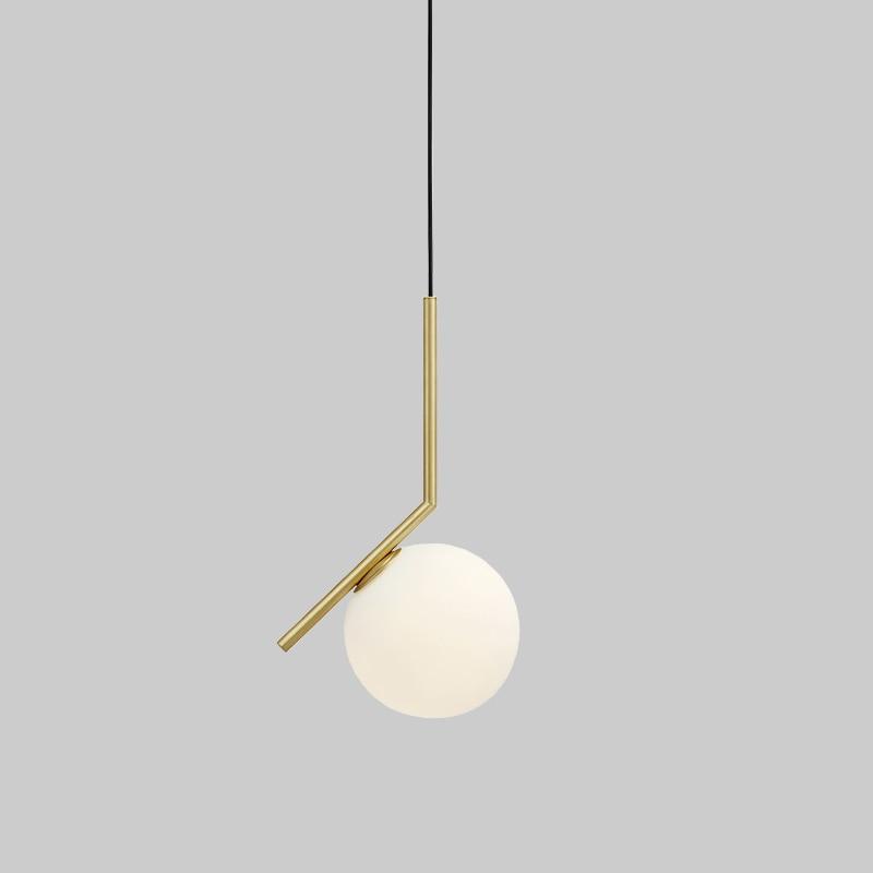Vente chaude Simple postmoderne style pendentif lampe blanc boule de verre lampe lampe pendentif lumière moderne nordique éclairage