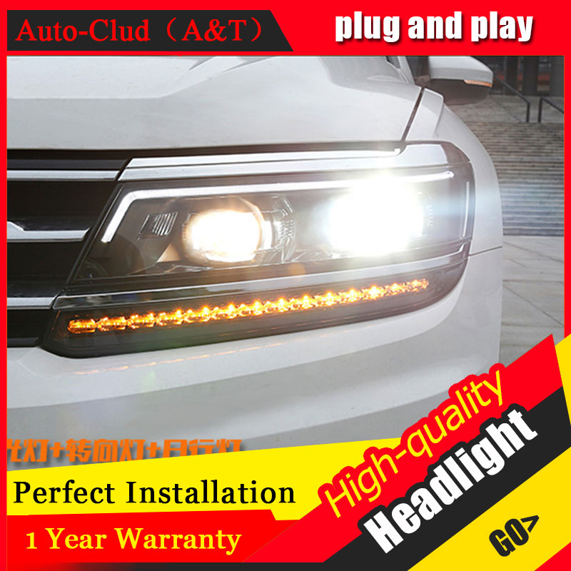 Auto Clud Car Styling For VW Tiguan headlights 2017 For Tiguan head lamp led front Bi-Xenon Lens Double Beam HID KIT auto part style led head lamp for porsche 997 series led headlights for 997 drl h7 hid bi xenon lens angel eye low beam