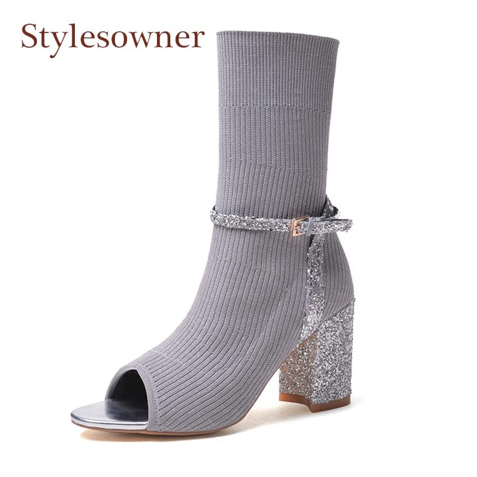 Stylesowner fashion stretch knitting peep toe short boots bling bling 8cm chunky heel belt buckle decor street runway women shoe