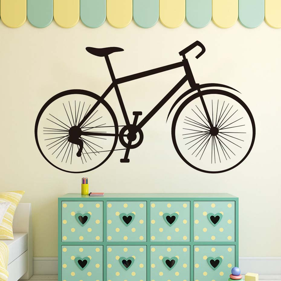 Creative Road Bike Wall Sticker Children Bedroom Wall Decorative Vinyl Removable Transportation Quote Home Decor ...