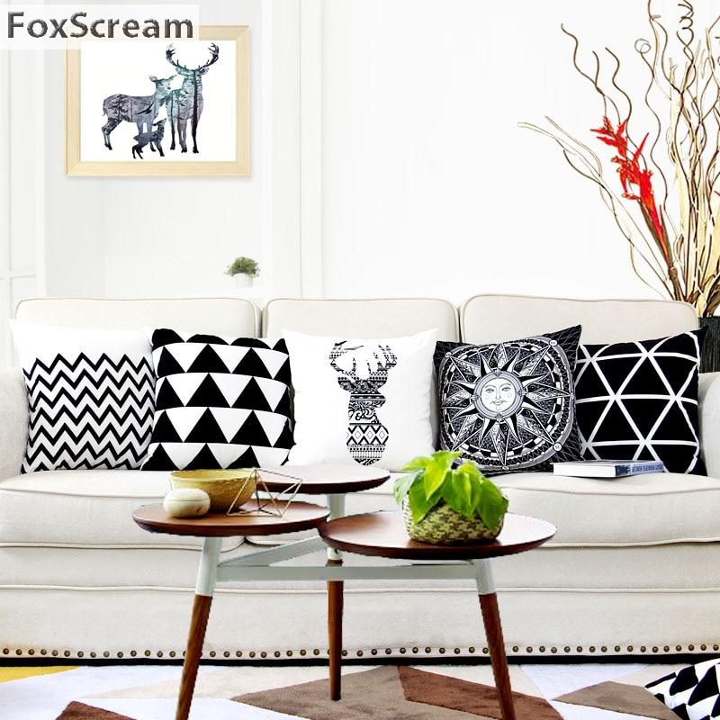 Nordic Decorative Pillows Geometric Cushion Cover Home Decor Black White Throw Pillows Cover Striped Plaid Pillowcase For Sofa