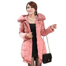 Пуховик длинная, shipping-2012 женское кружево украшение женщины утолщение с a капот приталенный средний — зима пальто