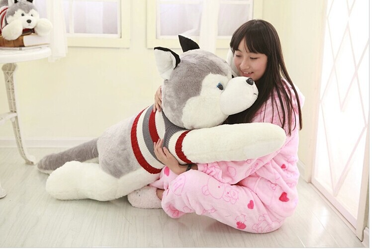 about 145 cm husky with sweater dog plush toy doll throw pillow gift w4046 lovely giant panda about 70cm plush toy t shirt dress panda doll soft throw pillow christmas birthday gift x023