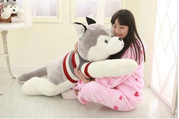 about 145 cm husky with sweater dog plush toy doll throw pillow gift w4046