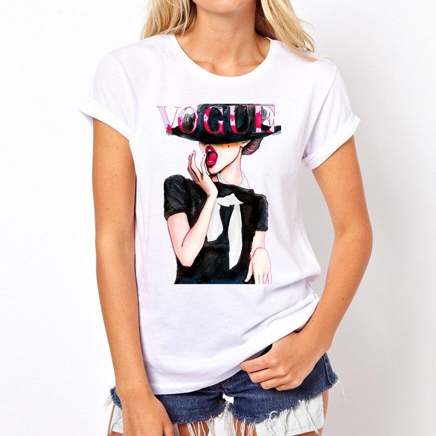 Женская модная футболка с принтом, женская мода, красивая футболка с круглым вырезом, летняя стильная футболка для девочек