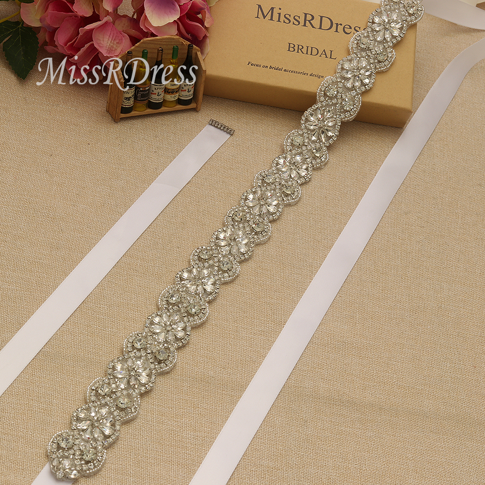 MissRDress Silver Rhinestones Bridal Belt Crystal Ribbon Wedding Sash Pearls Flower Wedding Belt For Bridal Accessories JK942