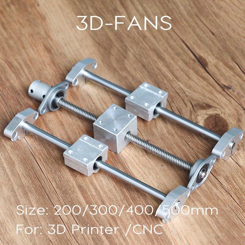 Kits de Rail de guidage 200/300/400/500mm vis à tête T8 + axe optique + support de roulement KFL08 + support de boîtier d'écrou à vis pour imprimante 3D
