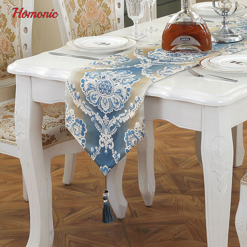 Modern european style table runners simple embroidery tablecloth decorative luxury bed runner hotel cotton tea towel