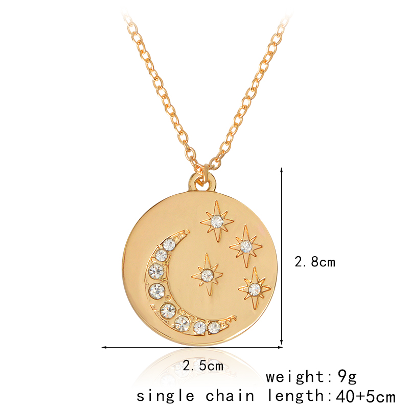 Qihe jewelry starburst moon star mini disk pendant necklace gold 0 aloadofball Images