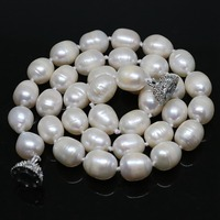Elegant White Natural Freshwater Barrel Rice Pearl Beads 7 8mm 11 13mm Necklalce Noble Women Jewelry