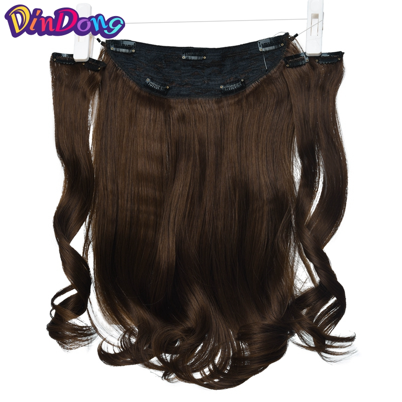 DinDong 18 inch Brown Blonde Secret Invisible Hair pieces Fish Line Wavy Clip in Hair Extensions Synthetic Halo Hair Extensions