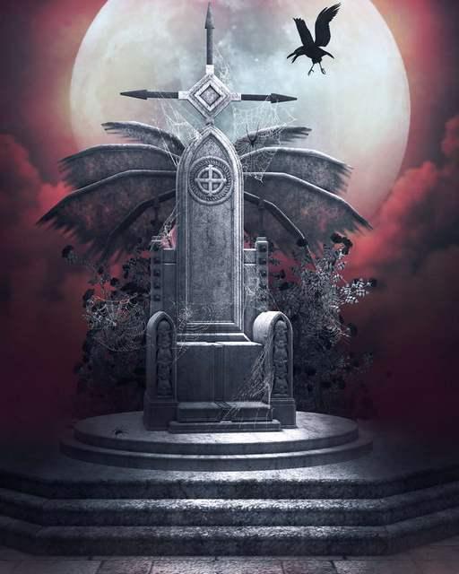 10x10FT Moon Sky Crow Graveyard Gravestone Tombstone