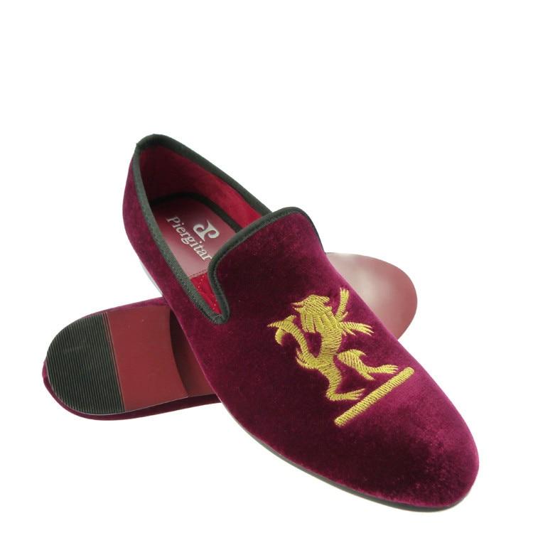 wedding shoes men red velvet loafers slippers US size 6-13
