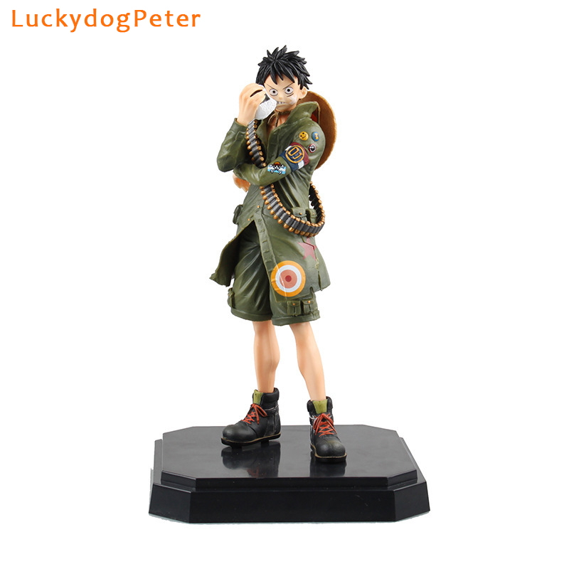 Action & Toy Figures One Piece Luffy Action Figure 1/7 Scale Painted Figure Military Style Monkey D Luffy Doll Pvc Acgn Figure Toy Brinquedos Anime
