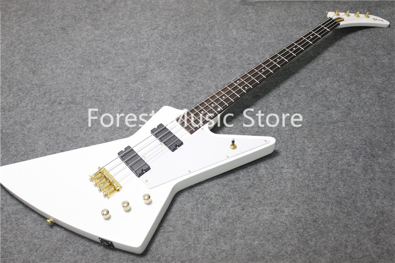 Hot Selling Chinese 4 String White Glossy Finish Explore Electric Bass Guitar Free Shipping universal 3 5mm stereo audio female jack to 2 rca male socket adapter cable hy260
