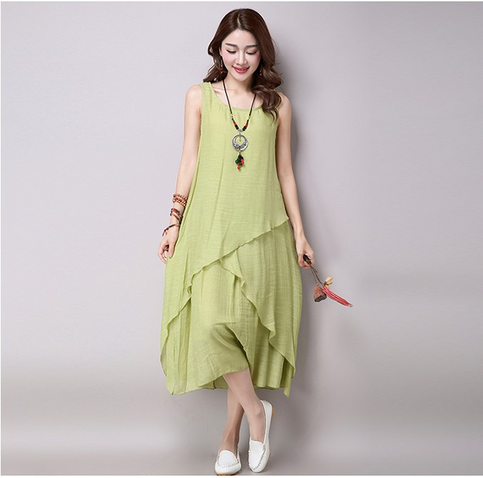 2016 Hot selling women's fashion cotton linen dresses ...