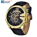 Luxury Golden Stainless Steel Watches For Men XINEW Brand Mens Leather Quartz Wacth Men's Sports Clock Outdoor Military Watch #N