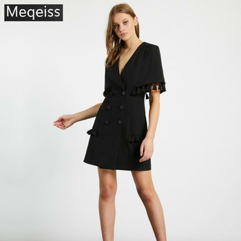 MEQEISS 2019 New Summer Women Slim Trench Coats Black Double Breasted Deep V-Neck Coats Long Sleeve Tassel Fashion Club Coats