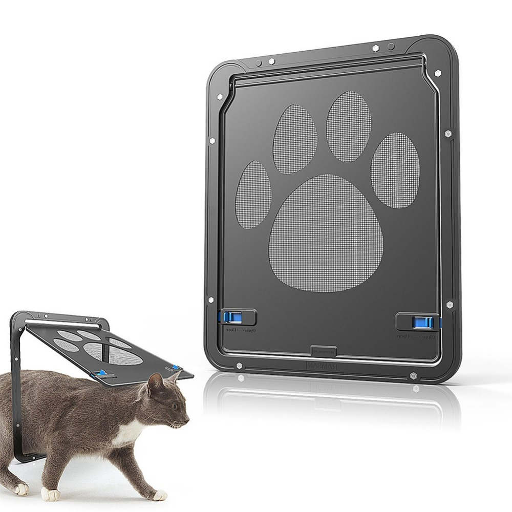 Lockable Dog Footprint Pattern Pet Cat Door For Screen Window Security Flap Gates Pet Tunnel Dog Fence Free Access Door For Home