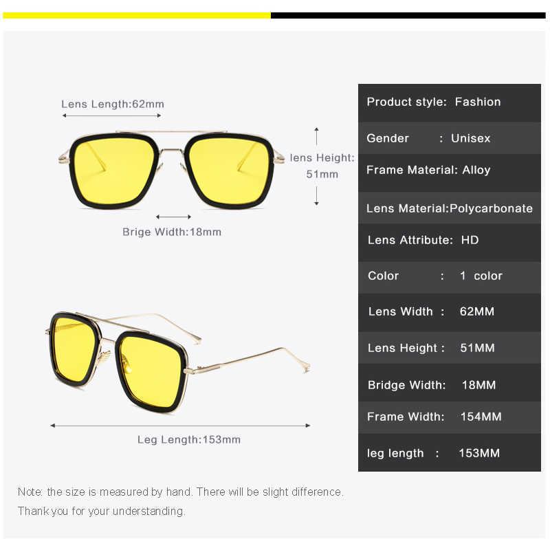 Longحارس للرؤية الليلية الزجاج عدسات صفراء اللون الرجال توني ستارك الرجل الحديدي نظارات للقيادة النساء المضادة للوهج معدن كلاسيكي النظارات الشمسية