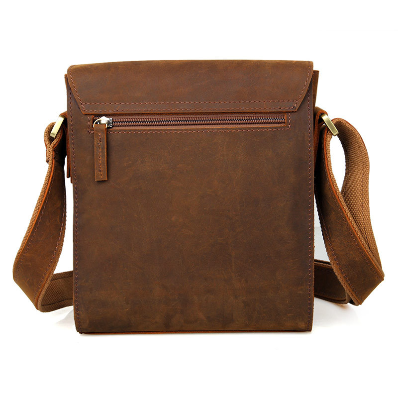 Men's vintage genuine leather iPad messenger bag Thick Cow leather shoulder bag small casual crossbody bag Cowhide Brown #J7055-in Crossbody Bags from Luggage & Bags    3