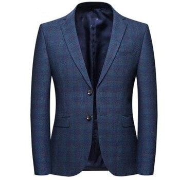 2019 new arrival spring high quality cotton plaid casual blazer men,men's suits jackets ,casual jackets men 8120
