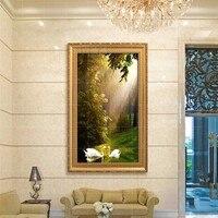 カップル白鳥雨緑風景大手塗り現代壁の絵画油絵キャンバス壁の装飾ホームデコレーショ