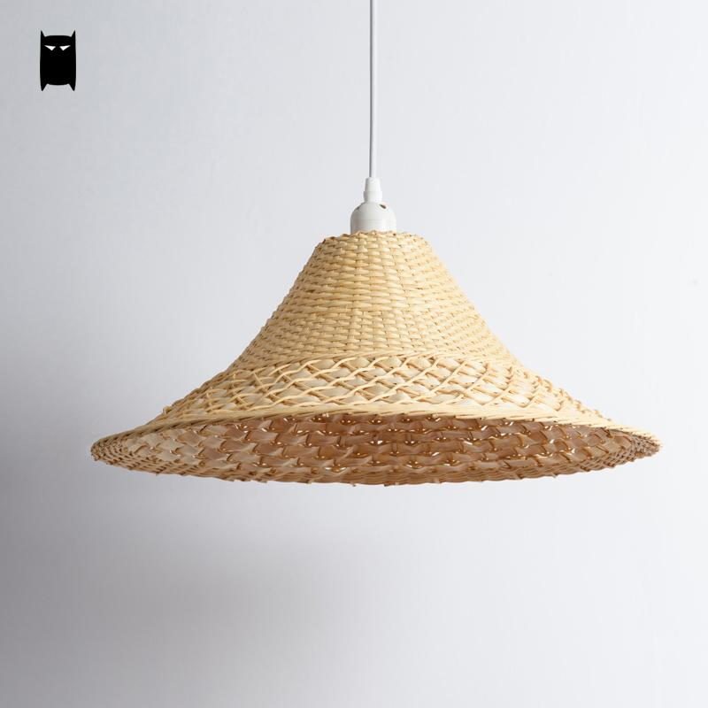 Wicker rattan straw hat shade pendant light fixture japanese tatami wicker rattan straw hat shade pendant light fixture japanese tatami hanging lamp design for restaurant bar dining table room in pendant lights from lights aloadofball Image collections