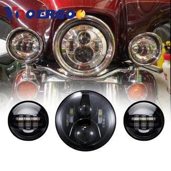 1 SET CHROME 7 INCH LED HEADLIGHT AND 4 1/2'' FOG LIGHT PASSING LAMPS   MOTORCYCLE