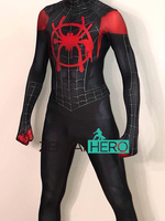 Free Shipping 3D Printed Miles Morales Costume Custom Into the Spider Verse Spider Man Lycra Cosplay Costume Zentai Spidey Suit