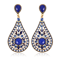 Luxury Ethnic Style Water Drop Earrings Fashion Flower Blue Austrian Crystal Jewelry Charm Earrings Romantic Women Party Gift