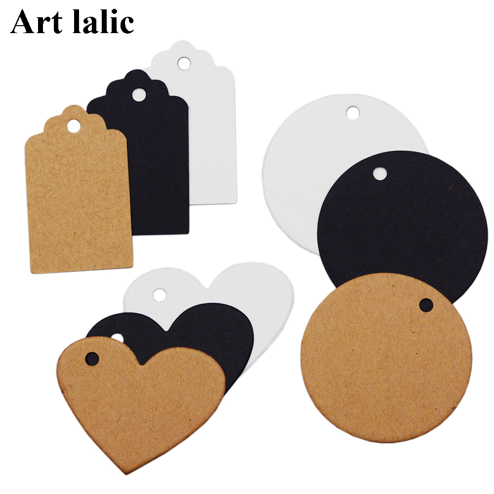 50Pcs DIY Kraft Paper Tags Brown Lace Multi shapes Label Luggage Wedding Note Blank price Hang tag Kraft Gift Wrapping Supplies
