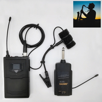 UHF Saxophone Mic Wireless Microphone System Clip on Musical Instruments for Saxophone Trumpet Sax Horn Tuba flute Clarinet Pipe