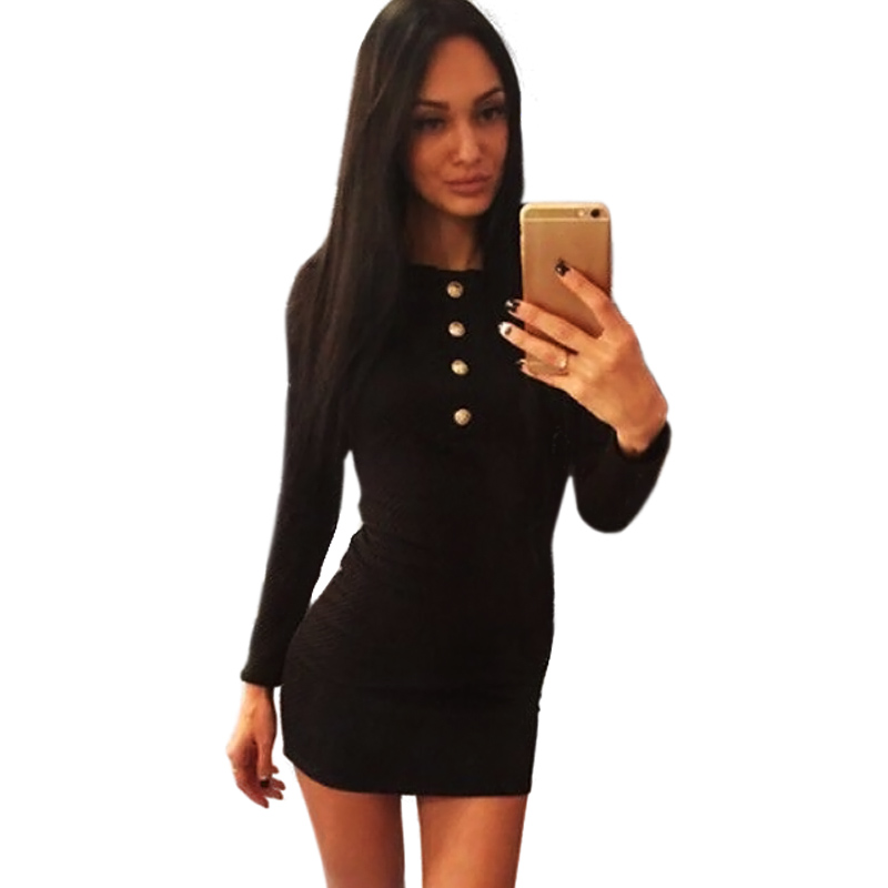 Office Knitted Bodycon Autumn Dress Women Plus Size Buttons Patchwork Short Red Dress O Neck Black