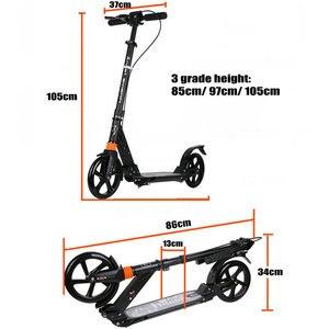 Image 4 - Patinete adulto con doble absorción de choque, freno doble y 20cm PU rueda adulto plegable kick Scooter