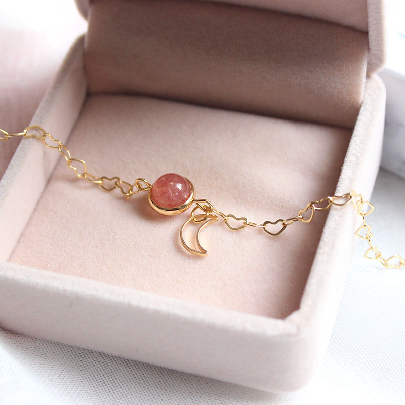 Sansummer New Bracelet Gift Box Sweet Girl Pink Geometry Star Moon Combination Sky Blessing Bracelet Jewelry Best Gift 6159 in Chain Link Bracelets from Jewelry Accessories